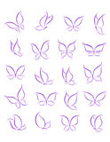 Butterfly silhouettes set Royalty Free Stock Images