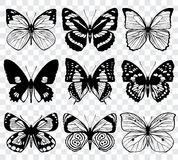 Butterfly silhouettes vector macro collection. Set of butterfly set, illustration of black silhouette butterflies Stock Photography