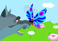 Butterfly sit on nose wolf Royalty Free Stock Image