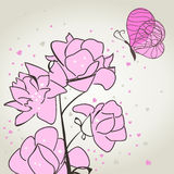 Butterfly and a flower2. The butterfly sits down on a pink flower. A vector illustration Royalty Free Stock Photos