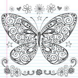 Butterfly Sketchy Back to School Doodles. Hand-Drawn Butterfly Sketchy Back to School Notebook Doodles with stars, flowers, and swirls. Vector Illustration Royalty Free Stock Photography