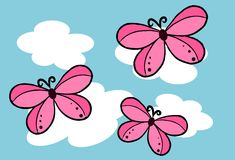 Butterfly on the sky - Vector Stock Image