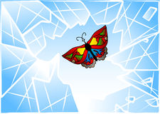 Butterfly smashed window. Abstract baackground in 10 EPS Royalty Free Stock Image