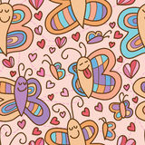 Butterfly smile pair seamless pattern Stock Photos