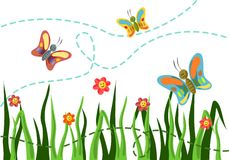 Butterfly smiles. Three smiling butterflies flying over grass and flowers Stock Photography