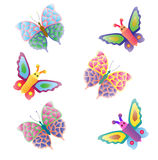 Butterfly. Some different colored butterflies flying Royalty Free Stock Photos