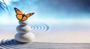 Butterfly On Spa Massage Stones. In Zen Garden Stock Photo