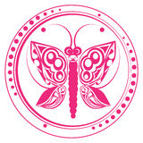 Pink butterfly stamp Stock Images