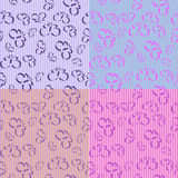 Butterfly Stripes - 4 Seamless Tiles. Butterfly Stripes with 4 different seamless tiles, all in lavender tones Stock Illustration