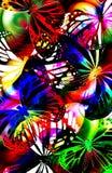 Butterfly strobe light. Abstract rainbow illuminated butterflies with layering effect Stock Photos