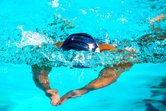 Butterfly Stroke. Photograph of a performance swimmer during a rally race in an Olympic pool Royalty Free Stock Photography