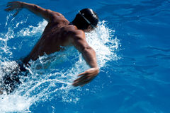 Butterfly stroke. Swimmer in blue water. Motion blur Stock Photography