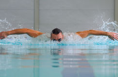 Butterfly stroke in indoor pool Royalty Free Stock Photography