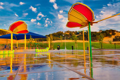 Butterfly structures in children's spray ground Stock Photos