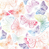 Butterfly summer seamless pattern. Watercolor spirit background. Stock Image
