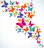 Butterfly summer splash. Spring butterfly colorful composition. Vector illustration layered for easy manipulation and custom coloring Stock Image
