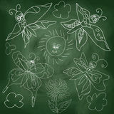 Butterfly,sun,clouds on chalkboard background Royalty Free Stock Image