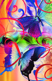 Butterfly surprise. Colorful whimisical butterfly print with cascading scrolls and paint brush strokes Stock Images