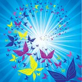 Butterfly swarm flying to the sun. Background with multicolor butterfly swarm flying to the sun vector illustration