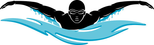 Butterfly Swim. Swimmer silhouette on an abstract water, frontal view