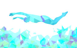 Butterfly Swimmer Color Silhouette. Sport swimming Stock Photography