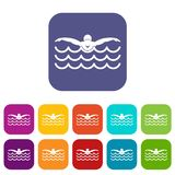 Butterfly swimmer icons set Stock Image
