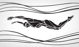Butterfly Swimmer Silhouette. Sport swimming Royalty Free Stock Photo