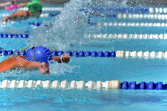 Butterfly swimmers during a race at a swim meet Stock Photography