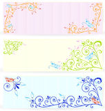 Butterfly on swirl texture banners vector Stock Photography