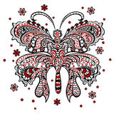 Butterfly with swirling decorative ornament Royalty Free Stock Images
