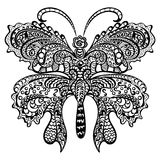 Butterfly with swirling decorative ornament. Royalty Free Stock Photos
