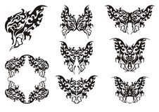 Butterfly symbols. Black on the white Stock Image