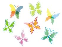 Butterfly symbols and icons Royalty Free Stock Photo