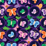 Butterfly symmetry style seamless pattern. This illustration is painting butterfly with symmetry style circle and decoration colorful flowers in seamless pattern Royalty Free Stock Photography