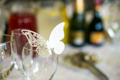 Butterfly table decoration. Butterfly shaped name cards decoration for the wedding table Stock Images