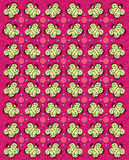 Butterfly Tablecloth Pink. Rows of butterflies and circles fill image.  Sponged background adds texture and style to pink background Stock Photos