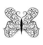 Butterfly tatoo abstract on white background Stock Photos