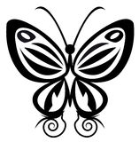 Butterfly tattoo. Hand drawn, abstract butterfly tattoo on white background Royalty Free Stock Photos