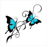 Butterfly tattoo black blue tribal Stock Images