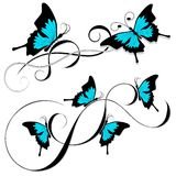 Butterfly tattoo black blue tribal Royalty Free Stock Images