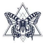 Butterfly tattoo. Dotwork tattoo. Graphic arts. Butterfly in triangle, geometry. Mystical symbol of freedom, nature, air. Butterfly tattoo. Dotwork tattoo stock illustration