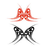 Butterfly tattoo. Red and black butterfly tattoo on white background Stock Photos