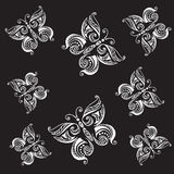Butterfly tattoo style vector seamless background Royalty Free Stock Photo