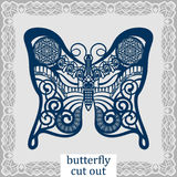 Butterfly - a template for laser cutting. Design element for a wedding, romantic meeting or greeting card.  Can be used as a decor Stock Photography