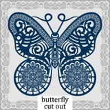 Butterfly - a template for laser cutting. Design element for a wedding, romantic meeting or greeting card.  Can be used as a decor Royalty Free Stock Photos