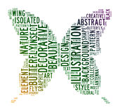 Butterfly text clouds Stock Photography