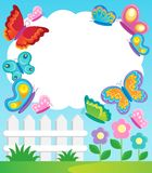 Butterfly theme frame. Vector illustration Royalty Free Stock Photos