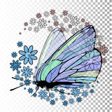 Butterfly with transparent wings. On a transparent background. On the wings of pollen in the form of flowers. Vector illustration for your design Stock Images