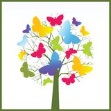 Butterfly tree. Bare tree with branches and butterflies - creativity  concept Stock Images