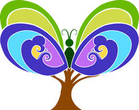Butterfly tree vector illustration
